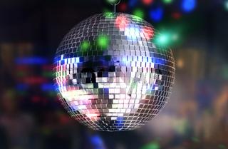 Disco ball light reflection background. Close up.