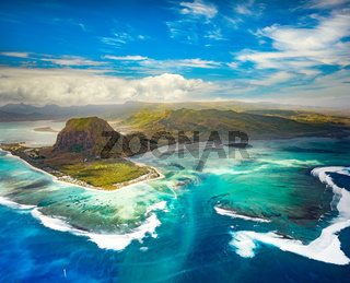 Aerial view of the underwater waterfall. Mauritius