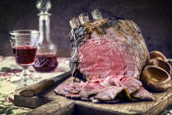 Rib of Beef Cold Cut on Cutting Board