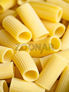 uncooked italian rigatoni pasta
