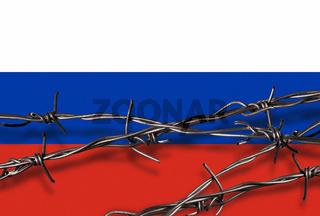 Flagge von Russland mit Stacheldraht