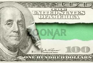Torn hundred dollar