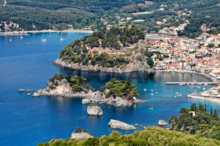 Aerial shot of Parga, Greece