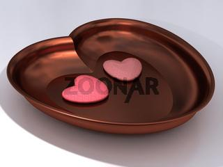 Herzförmige Kupferschale