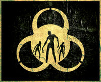Biohazard sign and zombie silhouettes on them