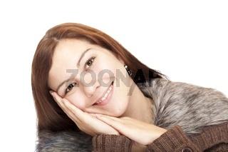 Nahaufnahme einer schönen glücklichen Frau