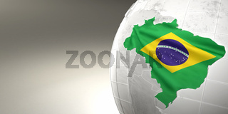 Map of the Brazil on Earth in the national colors. 3d