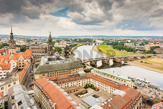 Aerial view over the city of Dresden