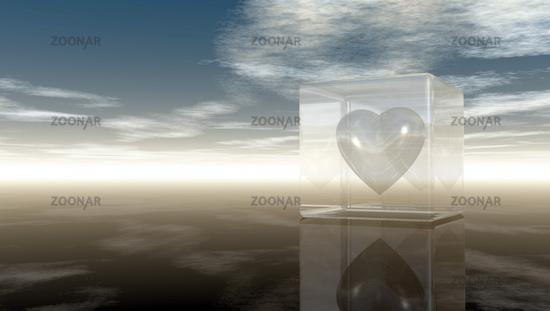 herz in glaswürfel unter wolkenhimmel - 3d illustration