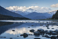 Haast River and Mount Hooker, New Zealand