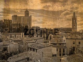 Luftaufnahme der Altstadt von Girona, Spanien