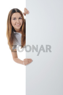 young woman holding blank sheet