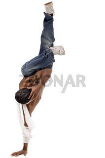 One handed hip hop dance on a white background