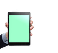 Male hand holding tablet on white background