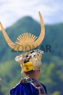 Miao Woman Rear Headdress Festival Costume