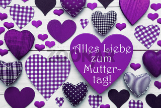 Purple Heart Texture With Muttertag Means Happy Mothers Day