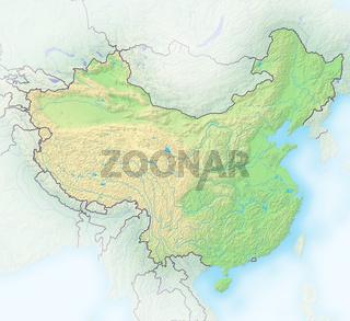China, Reliefkarte.