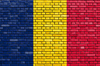 flag of Tchad painted on brick wall