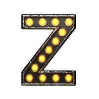 z metal letter with lights. 3D illustration