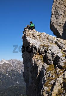 Tourist on a cliff