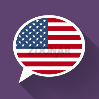 White speech bubble with American flag on purple background. American english language conceptual illustration
