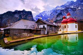St Bartholomew church on mountain lake Konigsee in german Alps by Munich, Germany
