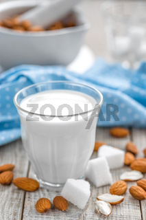 Fresh almond milk and nuts, vegan drink