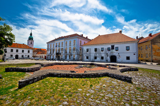 Town of Karlovac church and square view