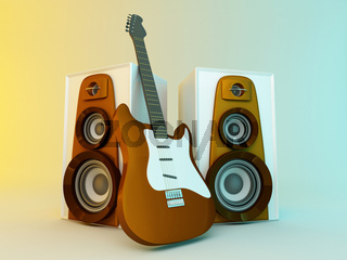 Guitar and louspeakers. 3d