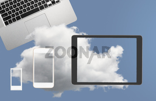 Illustration of cloud computing web services with smartphone