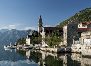 perast traditional balkan village mountain landscape near kotor in montenegro