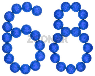 Numeral 68, sixty eight, from decorative balls, isolated on white background