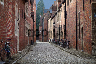 Bicycles on medieval street