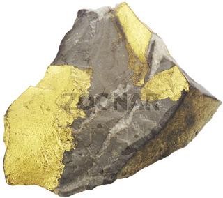 Goldhaltiger Stein auf weiß