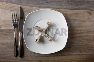 Empty dinner plate with bones