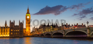 Big Ben and Westminster at dusk, London, UK.