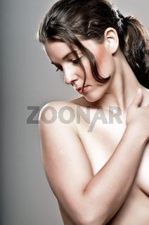 Side Closeup Of A Beutiful Woman In Nude