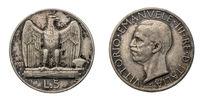 five 5 Lire silver Coin 1928 Eagle arms Vittorio Emanuele III Kingdom of Italy