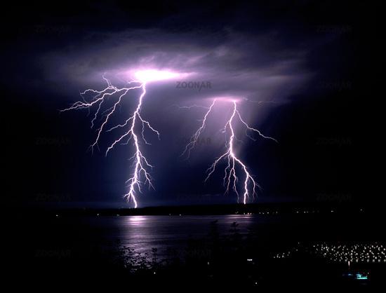 Fall Thunderstorm Late Night Lightning Strike Puget Sound Elliott Bay