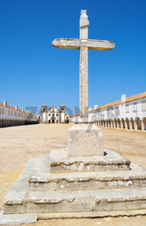 Stone cross in front of the Church of Our Lady of the Cape near cabo Espichel. Sesimbra, Portugal