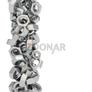 Vertical design pattern of many many screw nuts