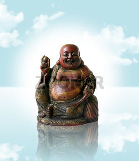 Chinese Buddha on a blue dream background