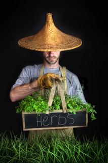 Man with Asian hat gardening