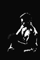 Powerful muscular man weightlifting black and white illustration