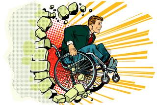 Businessman in a wheelchair. Disabilities and health. Barrier-fr