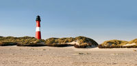 Panorama mit Leuchtturm, Strand und Dünen
