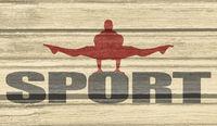Muscular man posing on sport word.