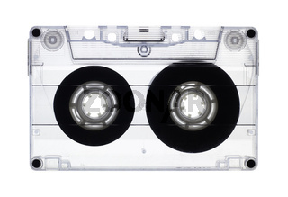 Transparent old audio cassette isolated on white, with clipping path.