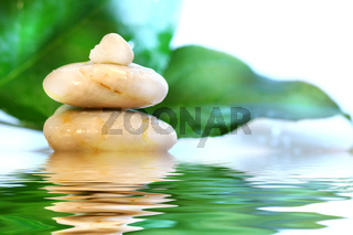 Spa stones with leaves