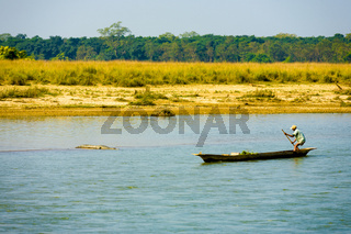 Man Boat Steering Clear River Crocodile Nepal
